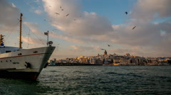 Time lapse photography, Galata Tower and Eminonu District at Sunset Stock Footage