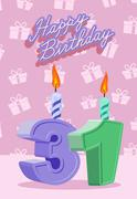 Birthday candle number 31 with flame - stock illustration