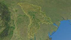 Moldova, glide over the map, outlined Stock Footage