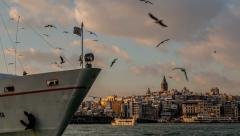 Ultra HD 4K, time lapse photography, Galata Tower and Eminonu District at Sunset Stock Footage