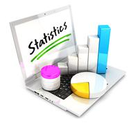 Stock Illustration of 3d laptop statistics