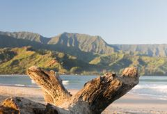 Hanalei Bay on island of Kauai Stock Photos