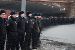 The police at an opposition March memory Nemtsov - stock photo