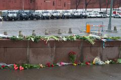 Moscow, Russia - March 1, 2015. The flowers near a place of murder of the pol Stock Photos