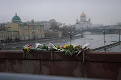 Flowers on a place of murder of the oppositionist Boris Nemtsov Stock Photos