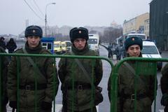 Soldiers of internal troops near opposition March Stock Photos