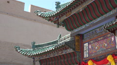 Detailed section of pagoda inside Jiayuguan Fort Stock Footage