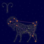 Stock Illustration of Zodiac sign Aries over starry sky
