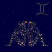 Zodiac sign Gemini over starry sky - stock illustration