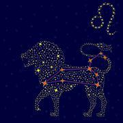 Zodiac sign Leo over starry sky Stock Illustration