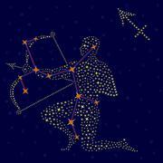 Zodiac sign Sagittarius over starry sky Stock Illustration
