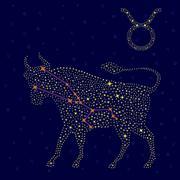 Zodiac sign Taurus over starry sky Stock Illustration