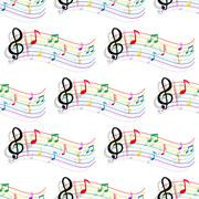 Seamless colorful music notes pattern Piirros