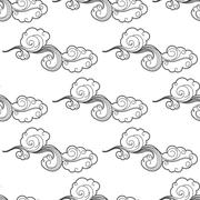 Vintage doodle cartoon clouds seamless pattern - stock illustration