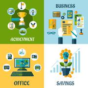 Flat concept of business, office, achievement, savings - stock illustration