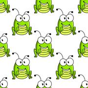 Cartoon green grasshopper character seamless pattern - stock illustration