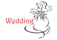 Bride with long curly hair wedding card Stock Illustration