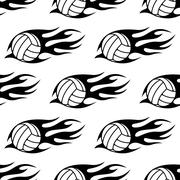 Volleyball ball with tribal flames seamless pattern - stock illustration