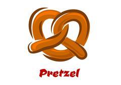 Bavarian twisted pretzel in cartoon style - stock illustration