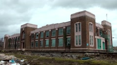 Art deco factory derelict urban decay closed Stock Footage