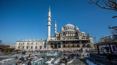 Time Lapse Photography, crowd visiting Yeni Cami Mosque Stock Footage