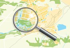 City Geo Map and Magnifying Glass Lens II - stock illustration