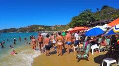 Walking on the famous Joao Fernandes Beach in Buzios, Rio de Janeiro, Brazil Stock Footage
