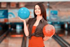 Leisure time in bowling club - stock photo