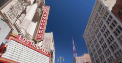 Los Angeles theater building exterior in downtown - stock footage