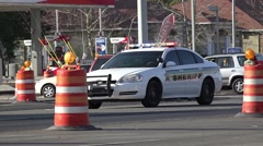 Sheriff Police Car In Construction Zone With Flashing Lights Stock Footage