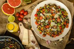 Warm salad of lentils, bio healthy - stock photo