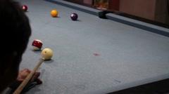 Man playing billiards Stock Footage