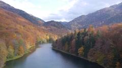 Mountain lake aerial - stock footage