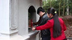 Spring festival, the temples to burn incense for good luck Stock Footage