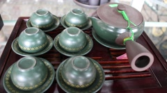 Travel with the sale of pottery in Conson Stock Footage