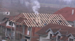 Construction site  workers  Building a roof Time lapse 2 Stock Footage