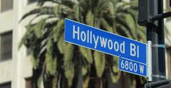 Hollywood Blvd street sign Stock Footage