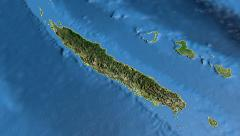 New Caledonia, glide over the map, outlined Stock Footage