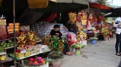 The tourist area with various sellers at Conson, sleeping Stock Footage