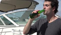 Drinking Beer Near Boat Stock Footage