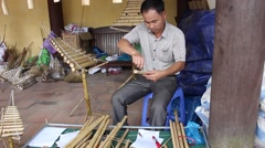 Artists professional flute. make bamboo flute - stock footage