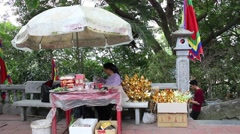Tourist sites with different sellers at Conson - stock footage