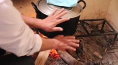 Asian farmers working in the kitchen, cooking food Stock Footage