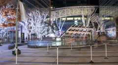Timelapse of Christmas shoppers and sightseers going into mall in midtown Tokyo - stock footage