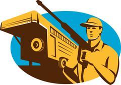 Pressure Washer Cleaner Worker Trailer Retro. Stock Illustration