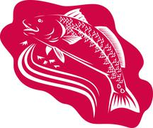 Stock Illustration of Red Drum Spot Tail Bass Fish Retro