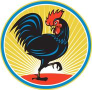 Rooster Cockerel Marching Side Retro. - stock illustration