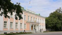 Presidential Palace of Estonia with two soldiers, editorial  Stock Footage