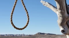 Noose on Hanging Tree in Wild West Badlands Close Up Stock Footage