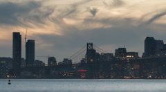 Timelapse night falling over San Francisco as seen from the Port of Oakland 3 Stock Footage